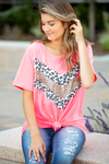 All About It Neon Pink Gold Sequin Detailed Top