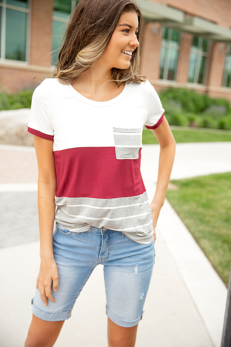 Heart Breaker Burgundy Block Top with Gray Stripes