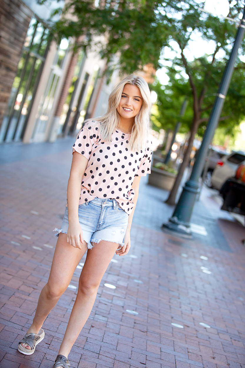 Be Happy Black Polka Dot Top in Light Peachy Pink