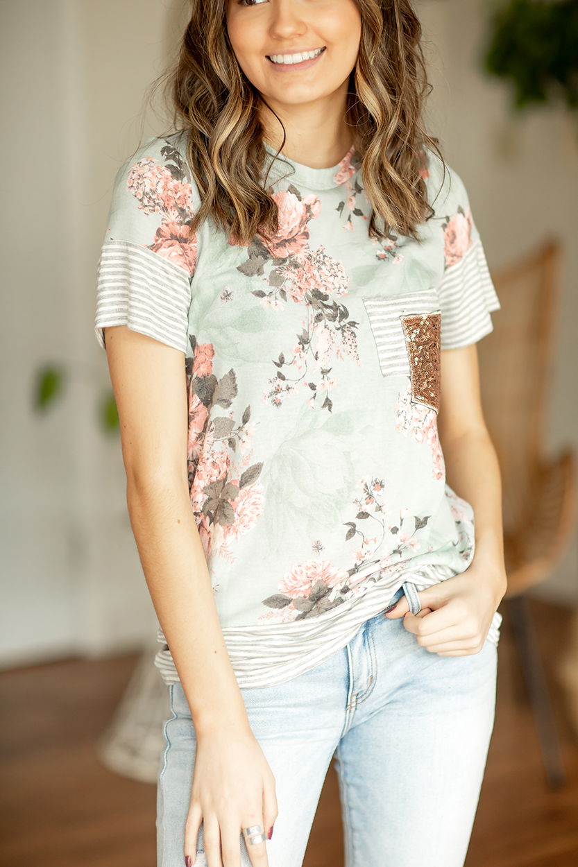 Believe In Me Sequin Pocket Floral Top in Mint
