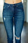 KanCan Laid Back Dark Wash Distressed Capris