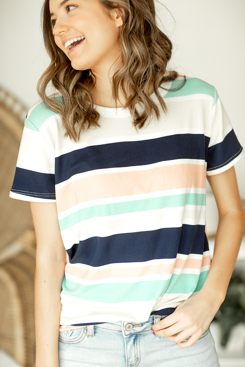 Better Believe It Multi Colored Striped Top