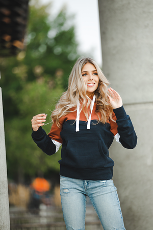 No Regrets Hoodie in Rust and Navy