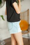 KanCan Guess What Light Wash Button Shorts