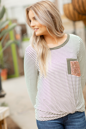 Has My Name On It Sequin Pocket Striped Twist Top