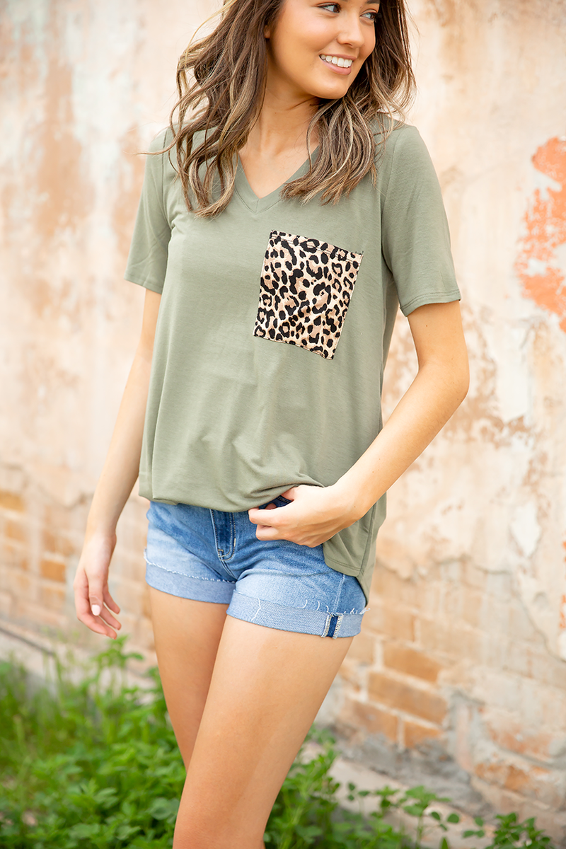 Enjoy It Top with Animal Print Pocket in Olive