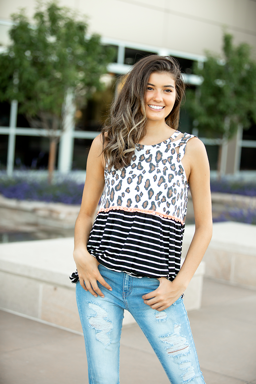Dreamland Animal Print and Stripe Open Shoulder Tank