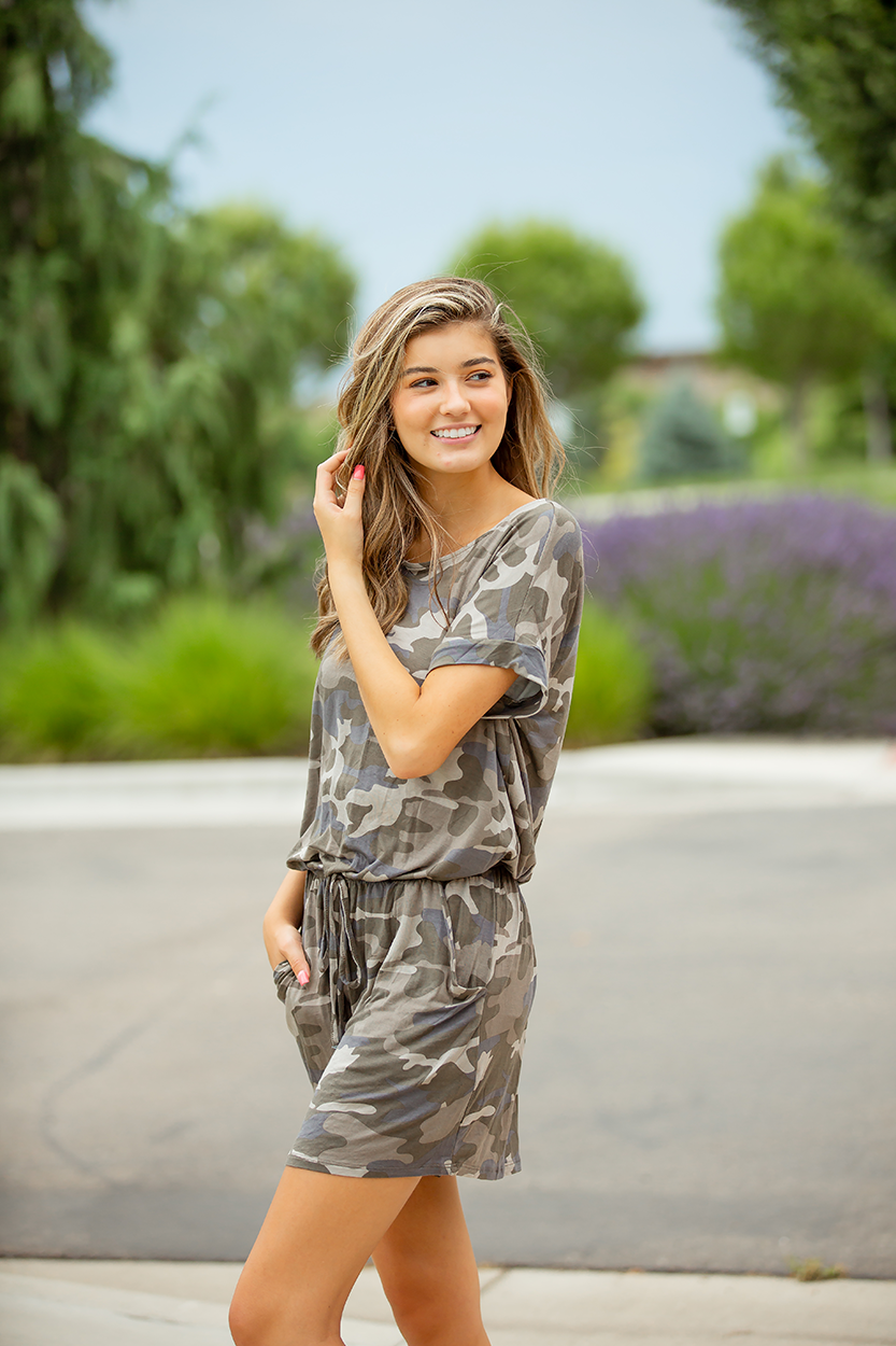 Let Your Light Shine Blue and Tan Camo Romper