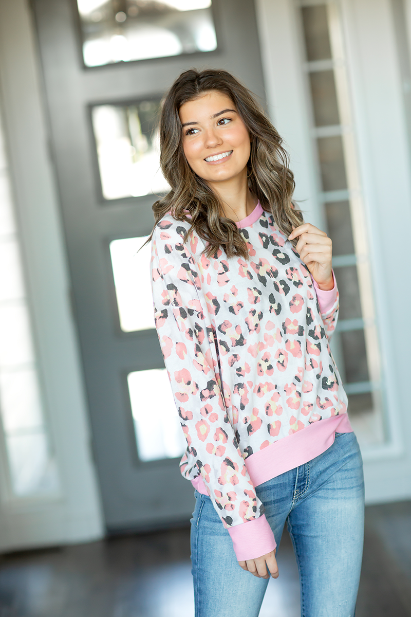 Open Heart Animal Print Top in Pink