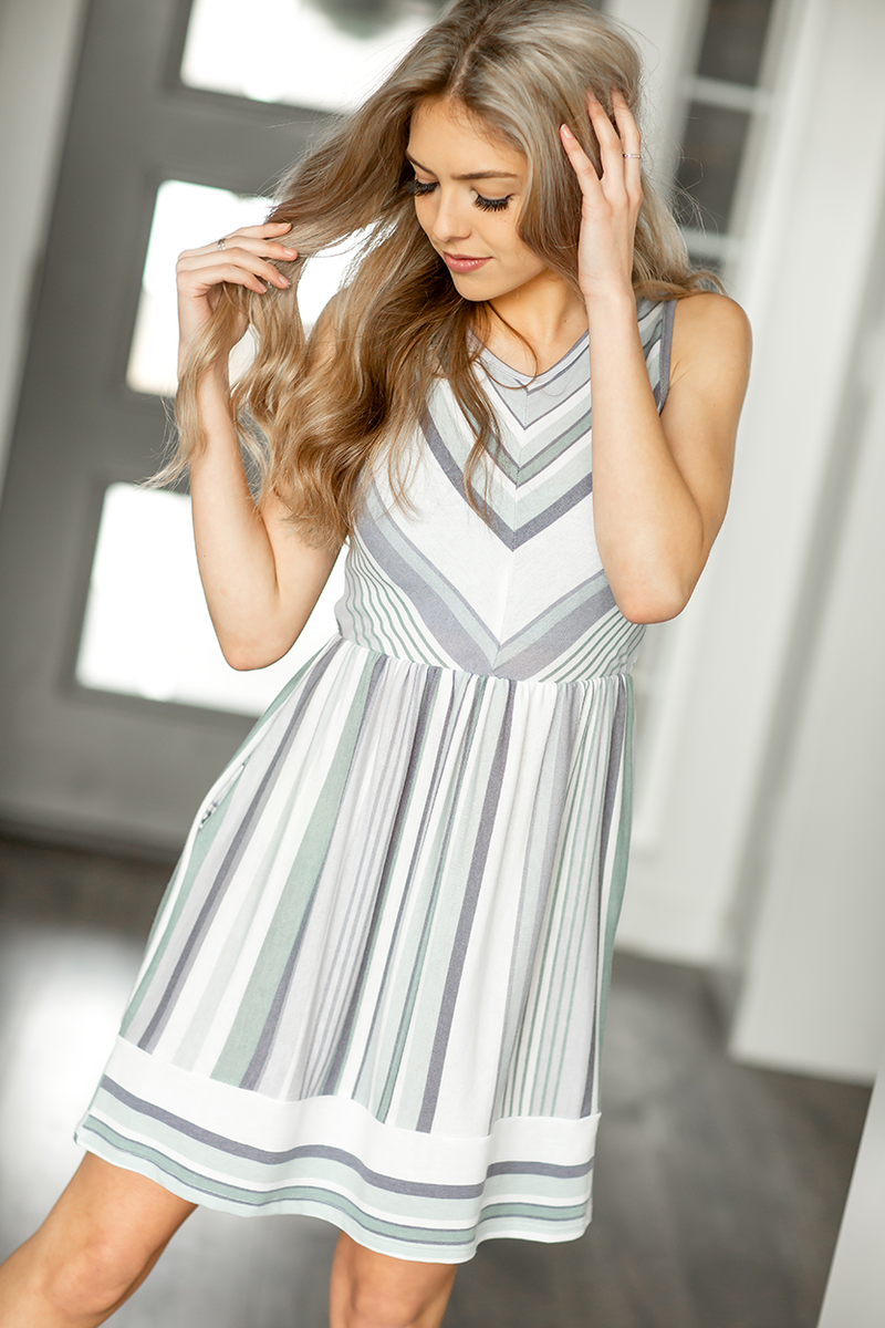 Full of Stories Striped Dress in Sage