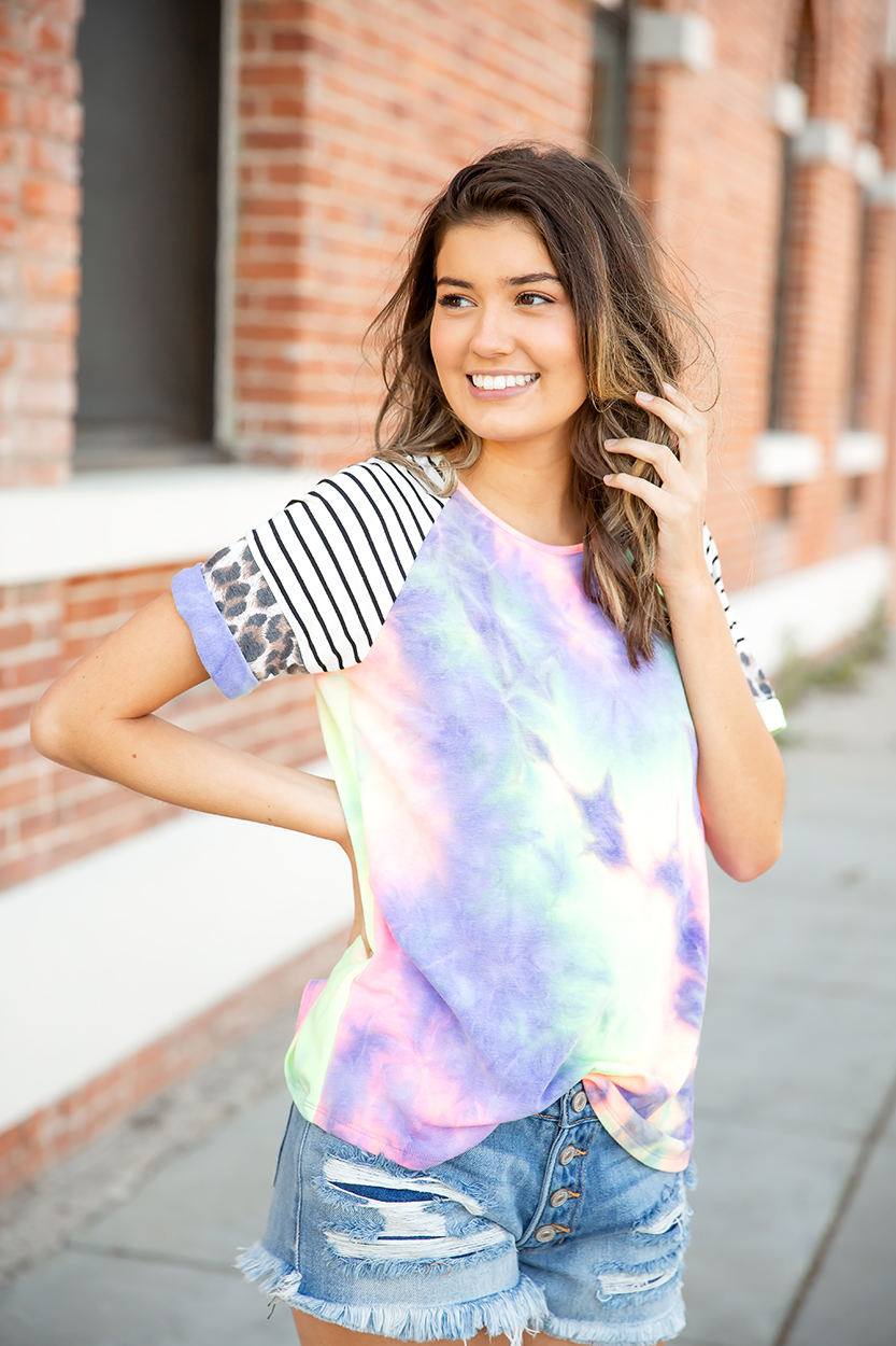 Bold and Beautiful Mixed Pattern Purple Tie Dye Top