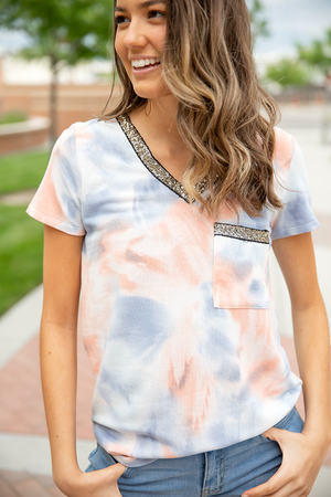 Love You More Blue and Coral Tie Dye Top With Sequin V and Pocket