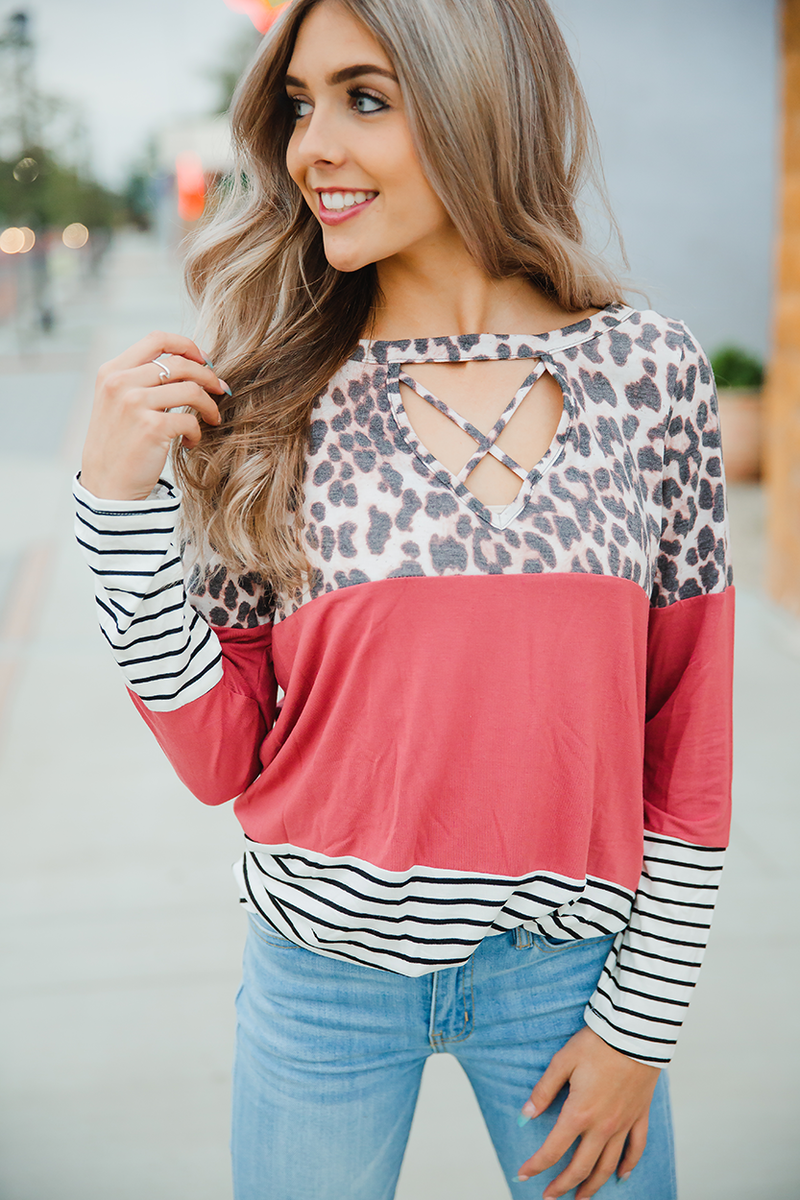 Our Purpose Here Animal Print, Mauve with Stripes Top