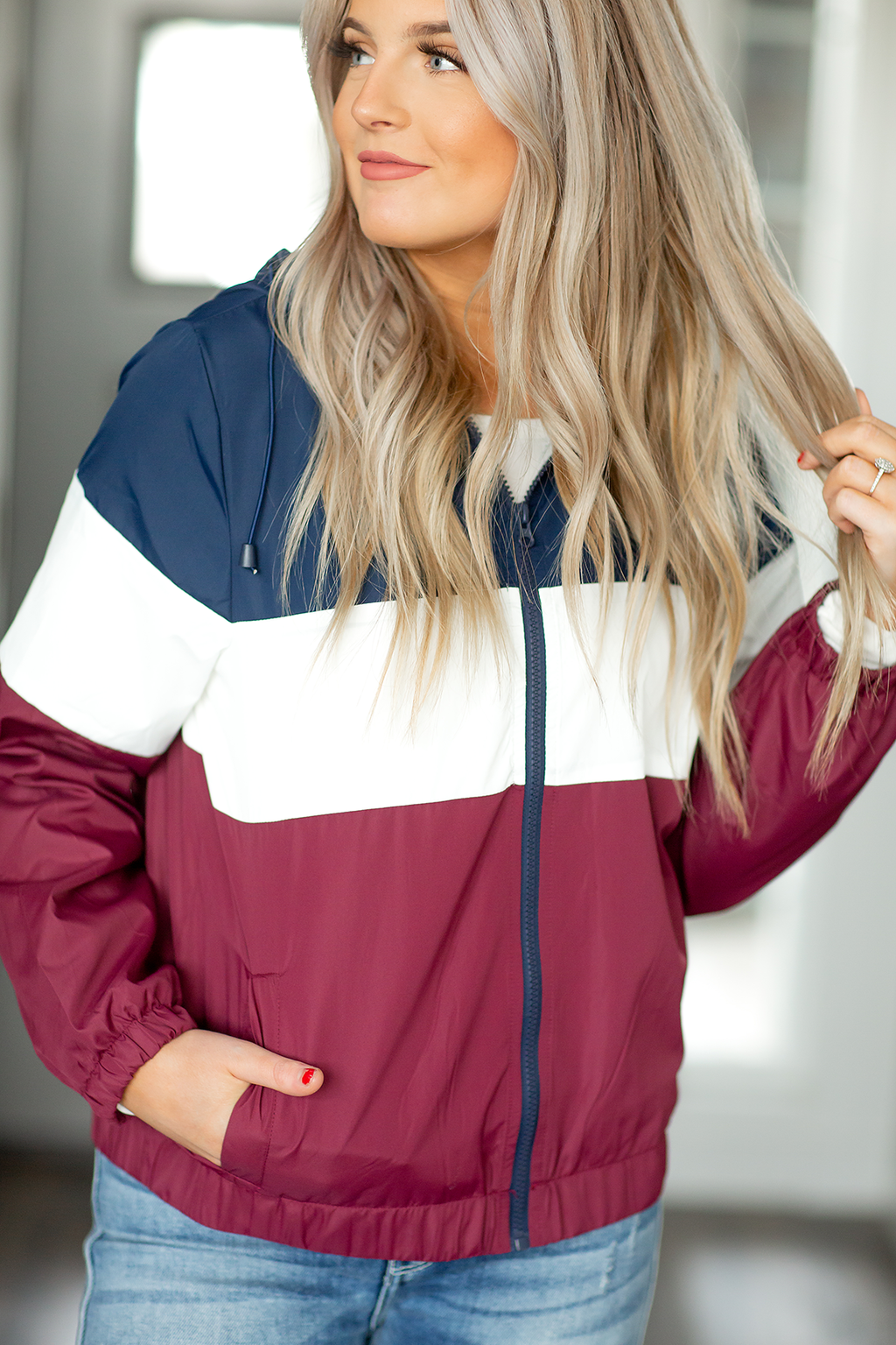 Forever In My Heart Windbreaker in Navy, White and Burgundy (SALE)