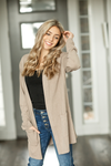 Fire and Gold Cardigan in Taupe