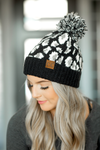 CC Knit Pom Beanie in Black and White Animal Print