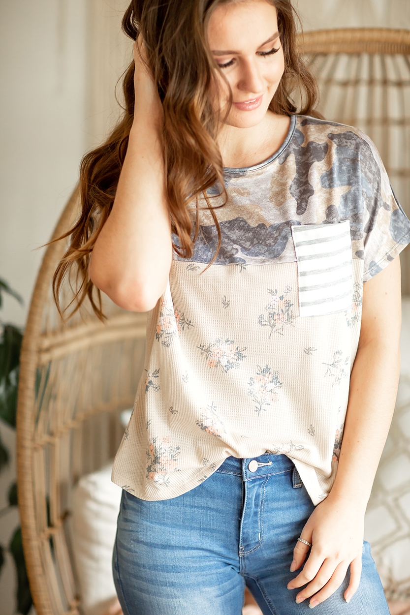 Jump Ahead Top in Floral and Camo