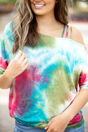 Talk About Love Cold Shoulder Multi Tie Dye Top
