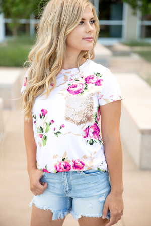 Always Yours Pink Floral With Sequin Pocket Top
