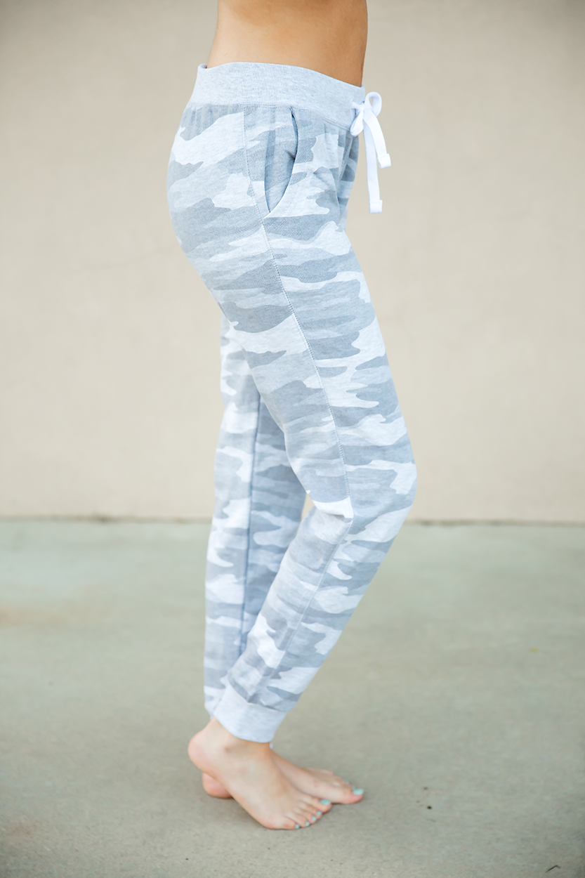 Down Time Joggers in Gray Camo