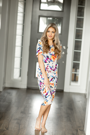 Be My Best Friend Floral Dress in Taupe