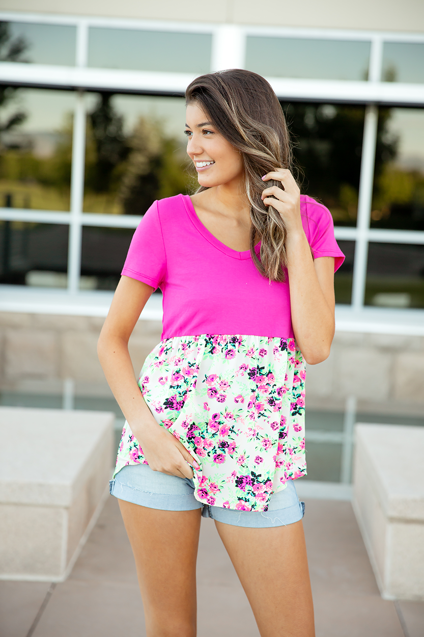 Gotta Have It Pink and Floral Bottom Top