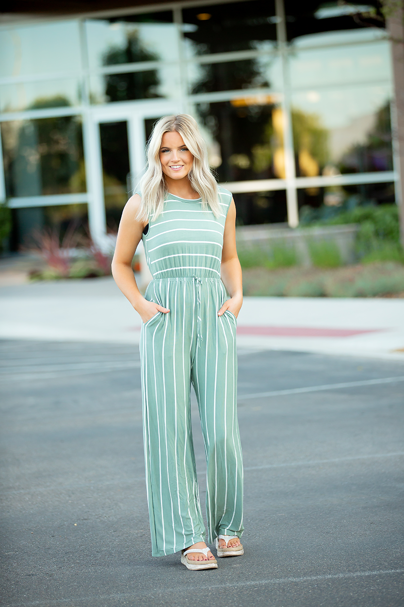 Going Places Sage Stripe Jumpsuit