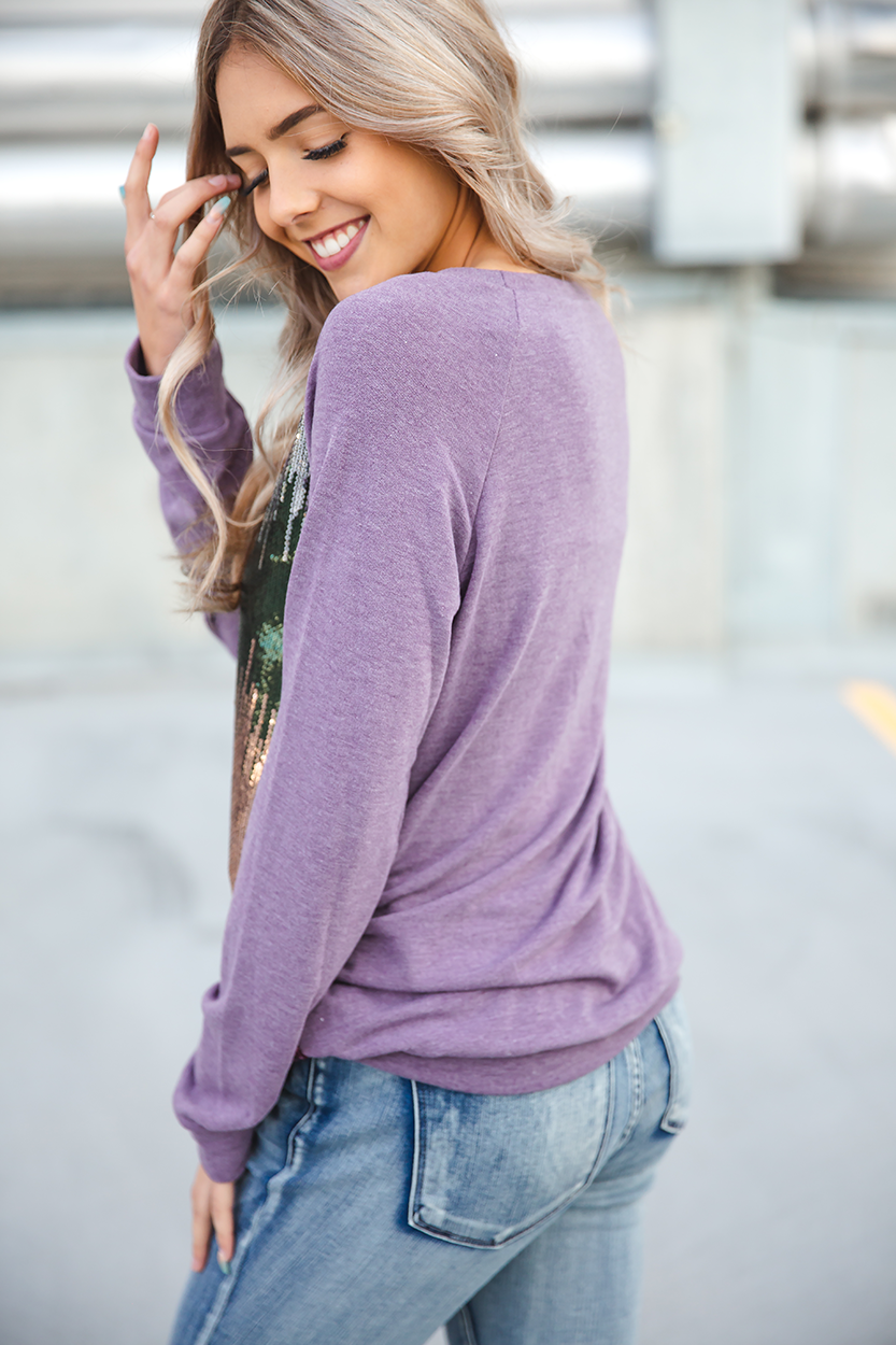 Dance With Me Sequin Long Sleeve in Lavender