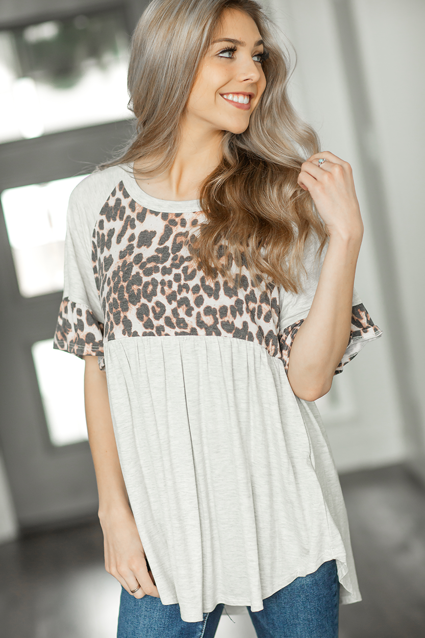 Jump Over Animal Print Ruffle Top in Oatmeal