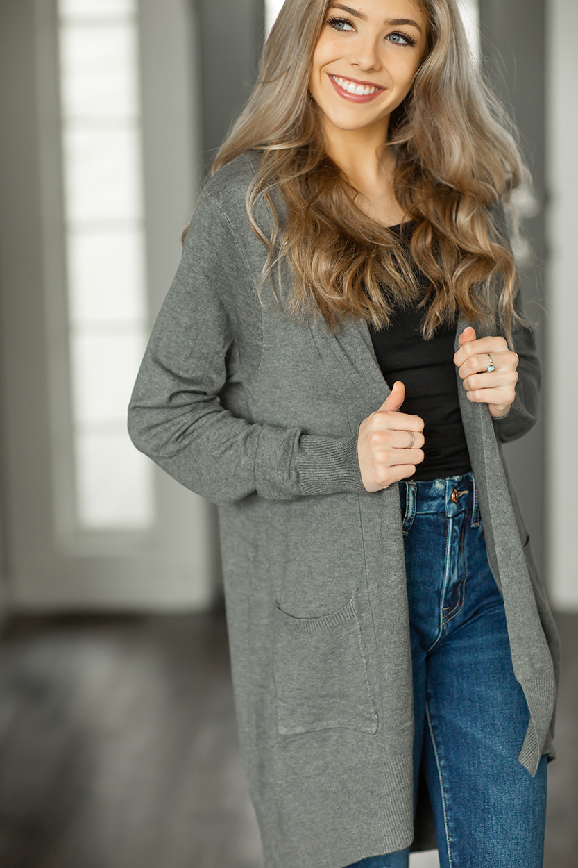 Don't Worry Duster Cardigan in Charcoal