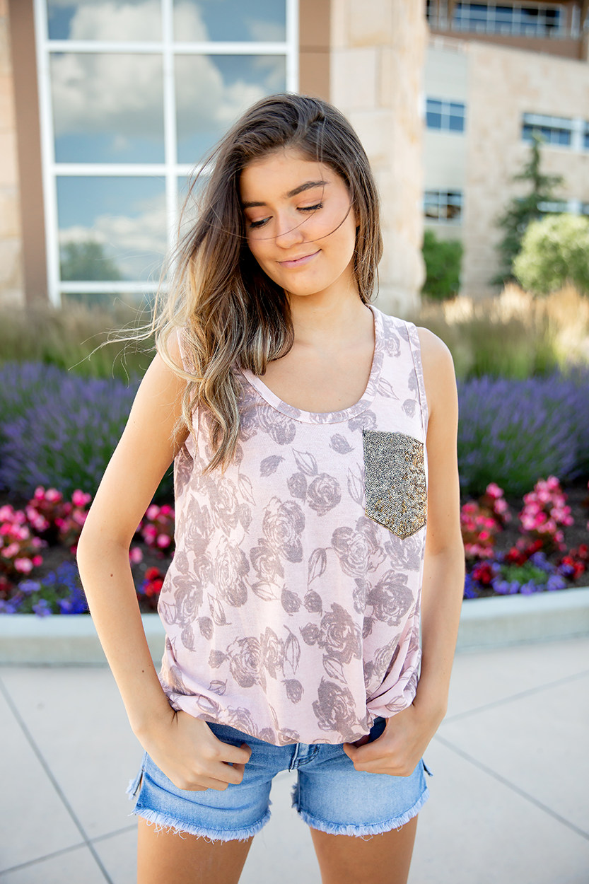 Always With You Blush Rose Tank With Sequin Pocket