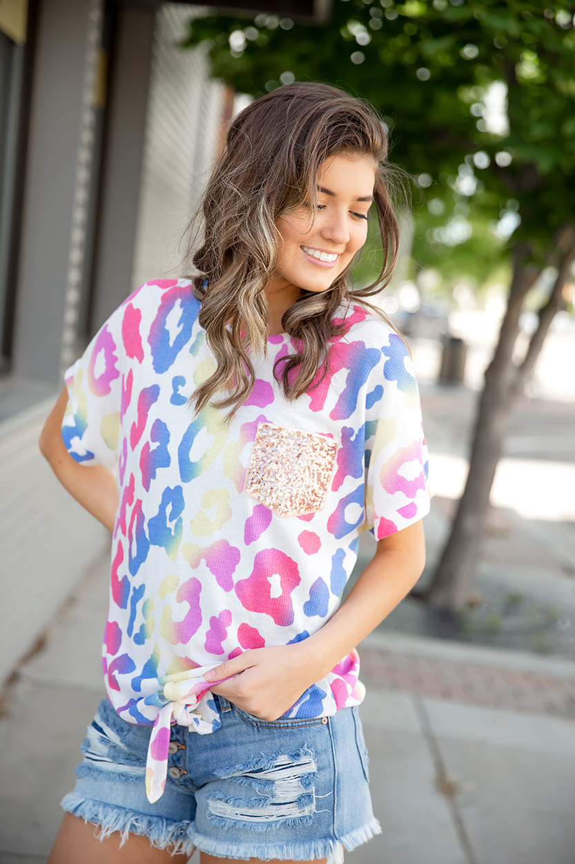 All of Me Multi Color Animal Print Top with Sequin Pocket