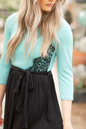 Maxi Dress in Turquoise and Black with Lace