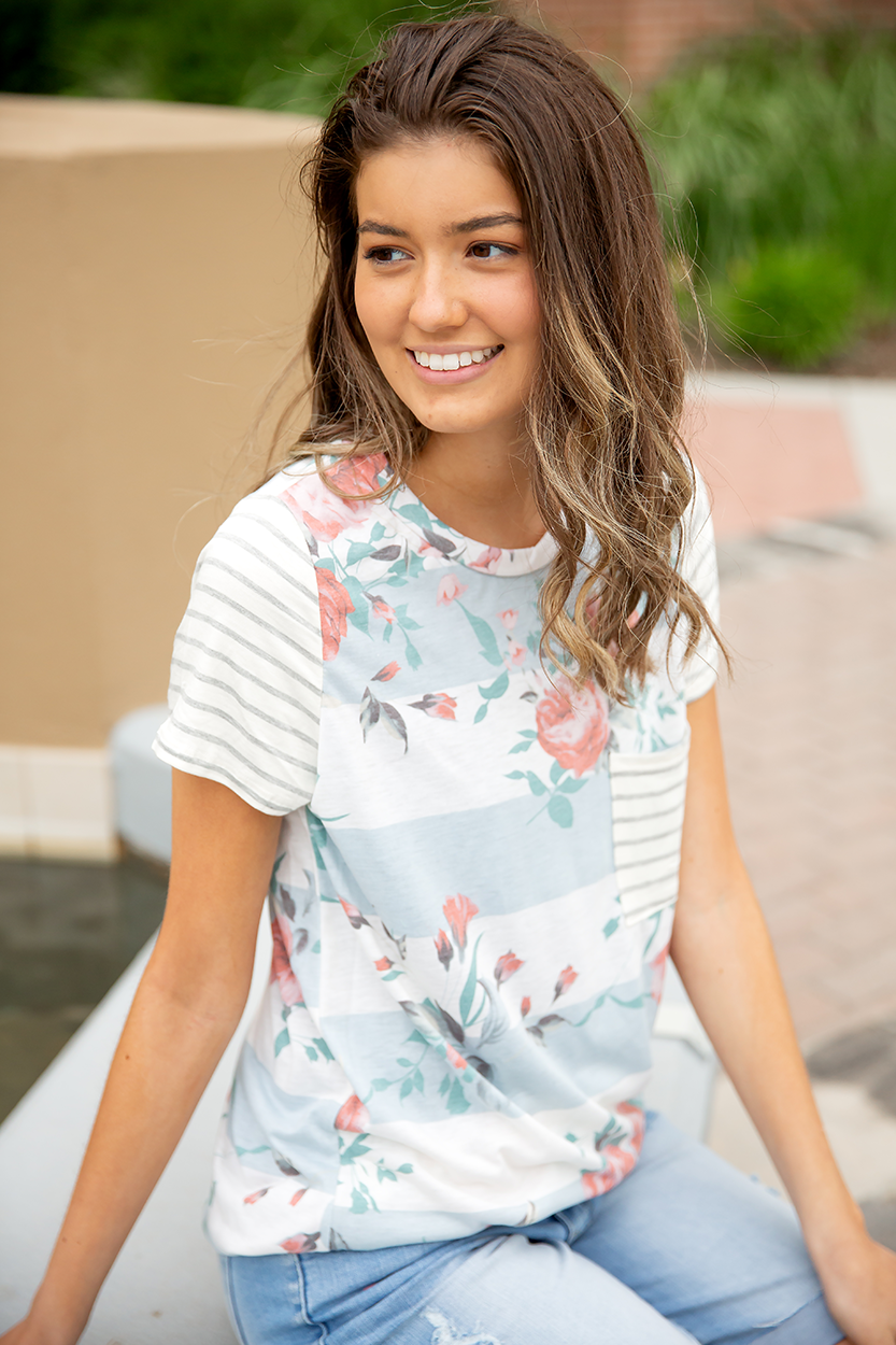Call Me Lovely Floral Tee with Striped Pocket