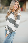 Date Night Dusty Olive and Cream Striped Hooded Shirt with Animal Print
