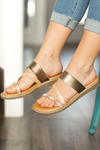 Blowfish Sandals in Rose Gold and Amber