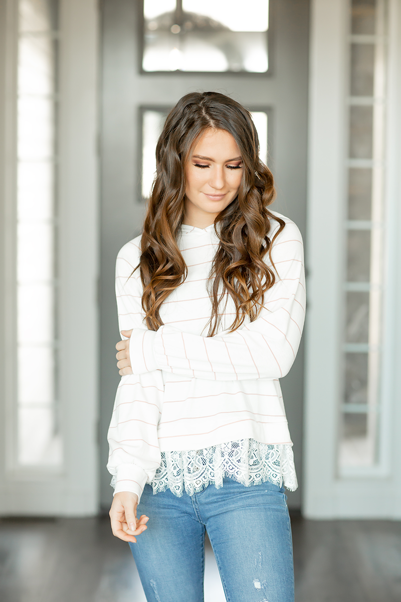 Say Something Striped White and Mauve Top with Lace Accent