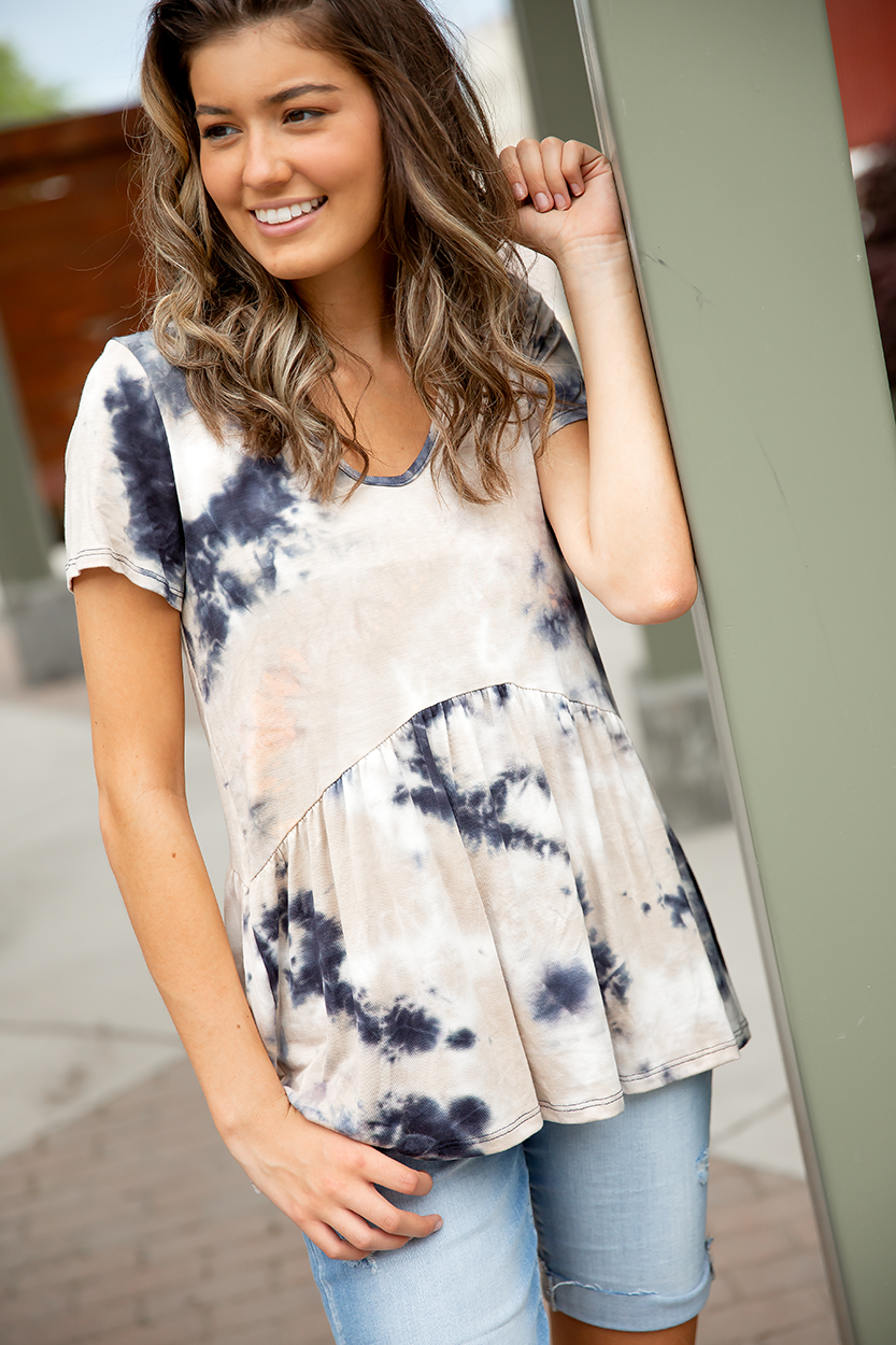 Best Of Times Tie Dye Top in Navy and Taupe