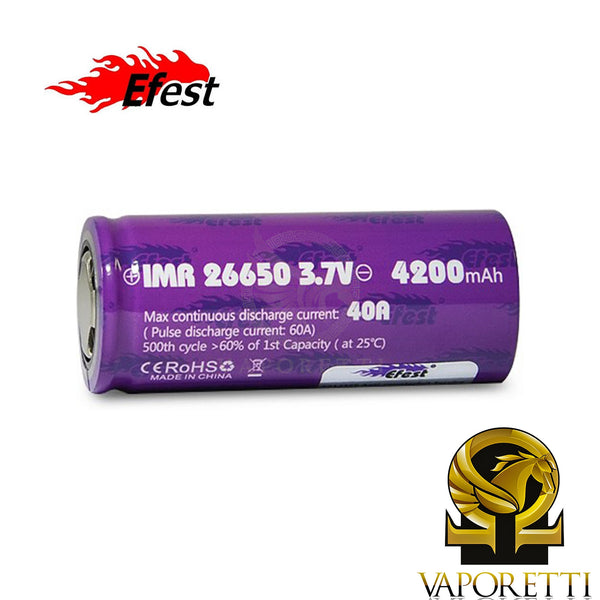 Efest Purple 26650 4200mAh 40A Flat Top Battery