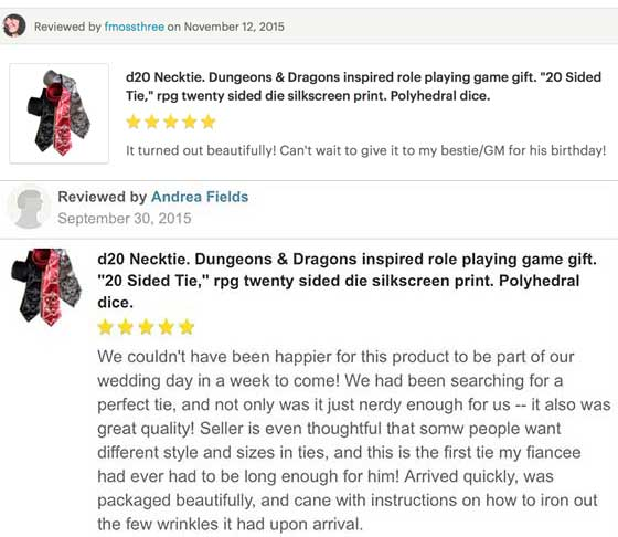 cyberoptix d20 necktie customer review