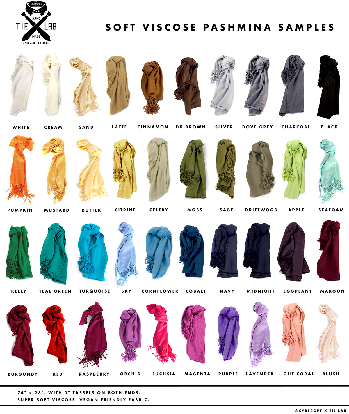 Cyberoptix traditional weight pashmina color chart