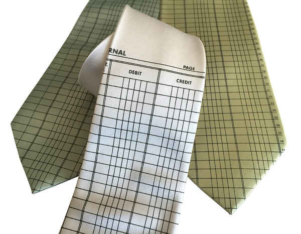 Accountant neckties, ledger paper print, vegan safe microfiber
