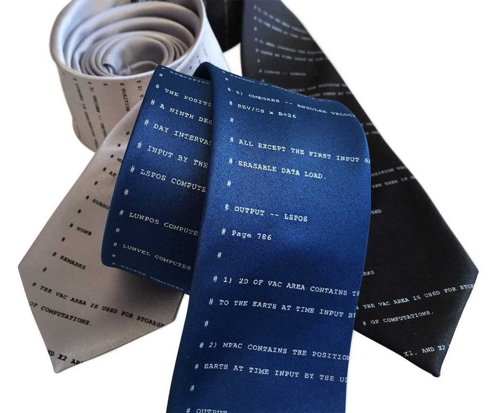 Apollo 11 source code ties via github, printed by Cyberoptix
