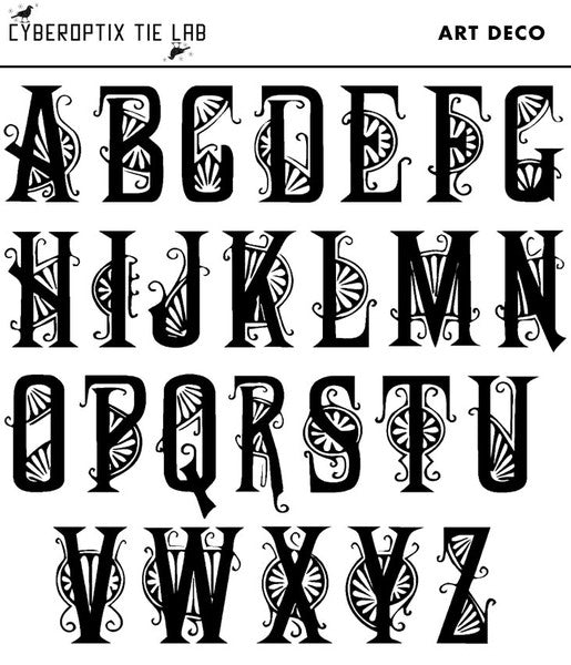 Cyberoptix Art Deco Font Alphabet choices