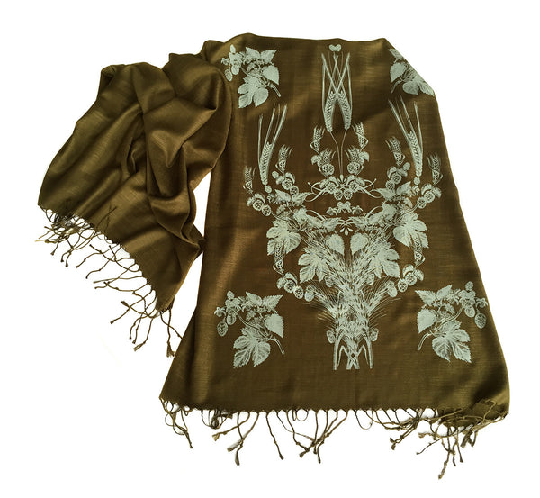 Hops and Wheat printed pashmina scarf
