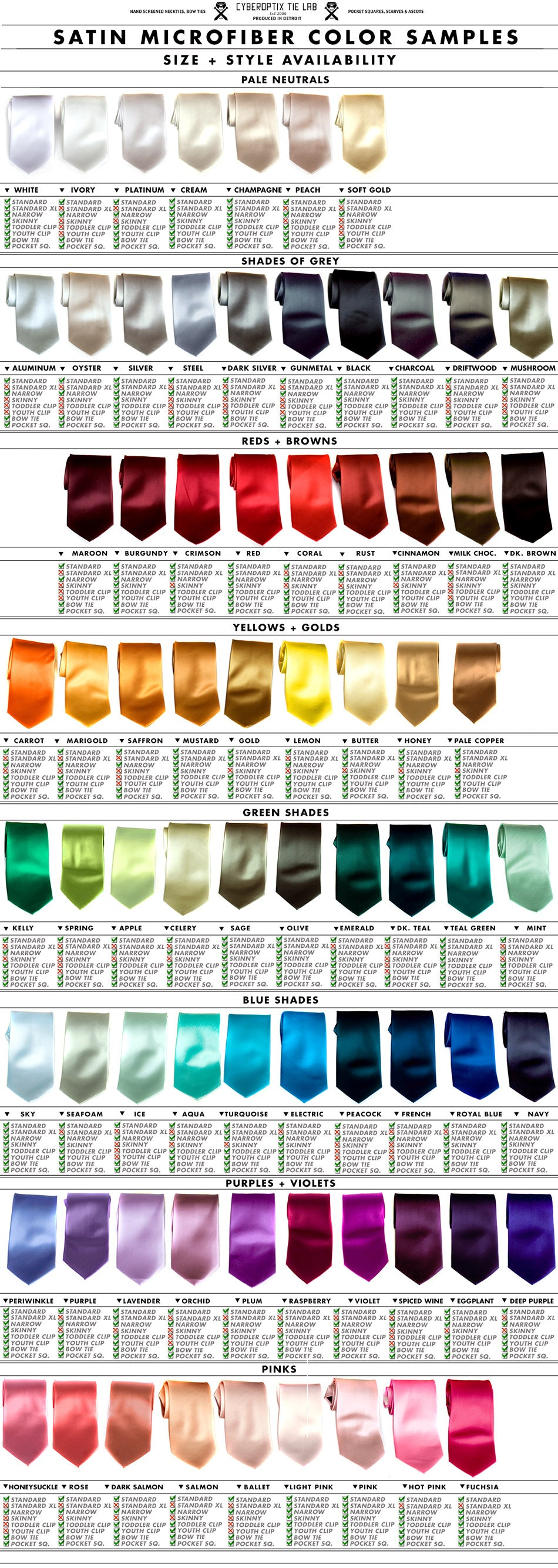 Color charts for single custom orders group sets nvjuhfo Choice Image