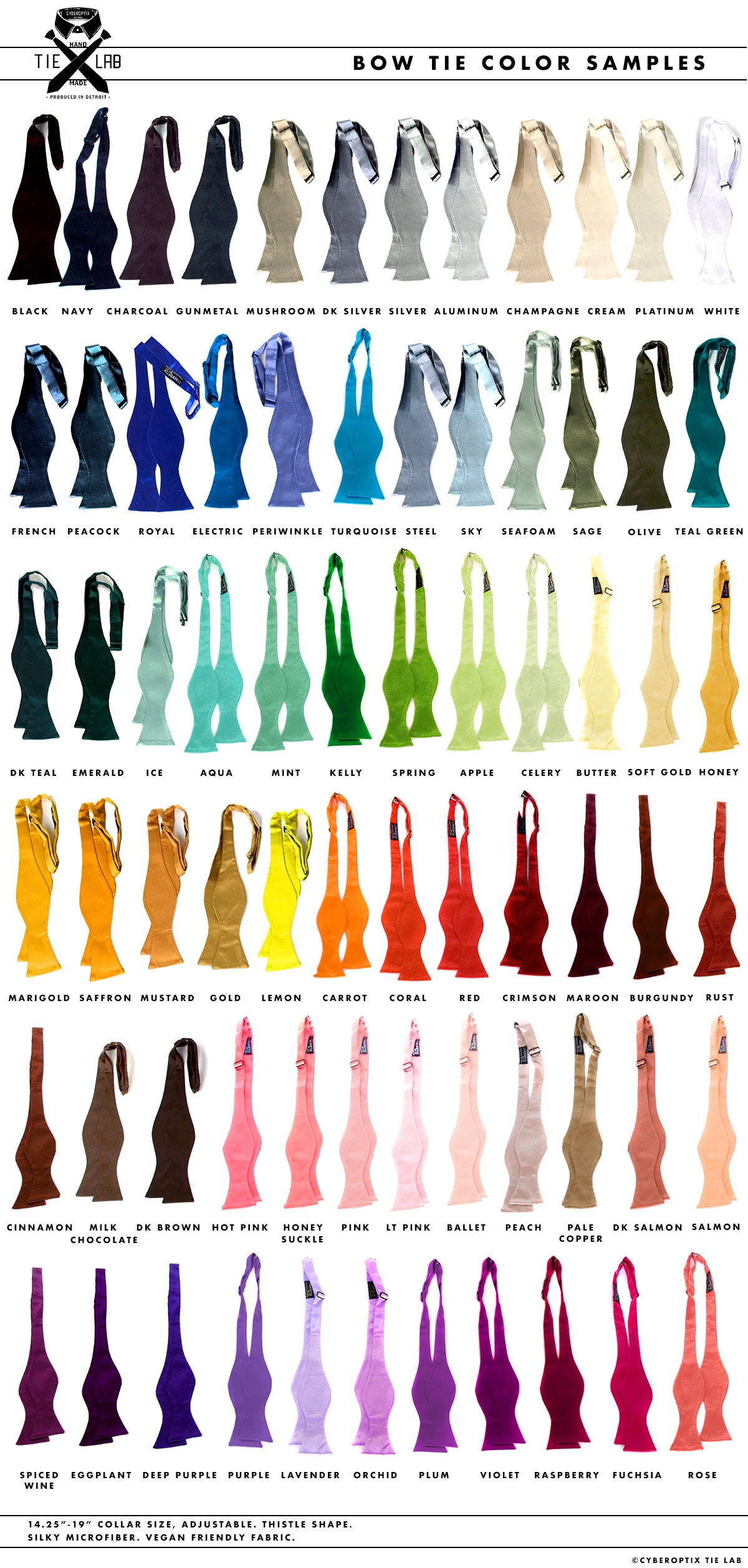 Cyberoptix self-tie bow tie color chart