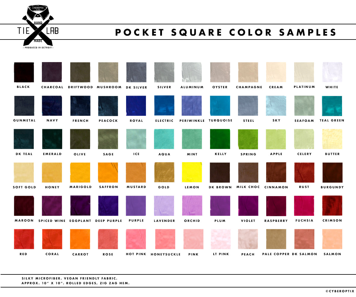 Cyberoptix pocket square color chart