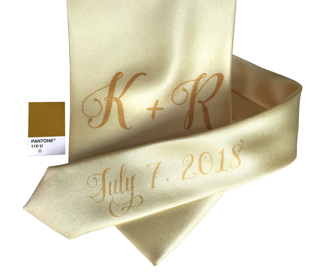 custom sublimated  initial monogram wedding necktie, gold on butter yellow, Cyberoptix
