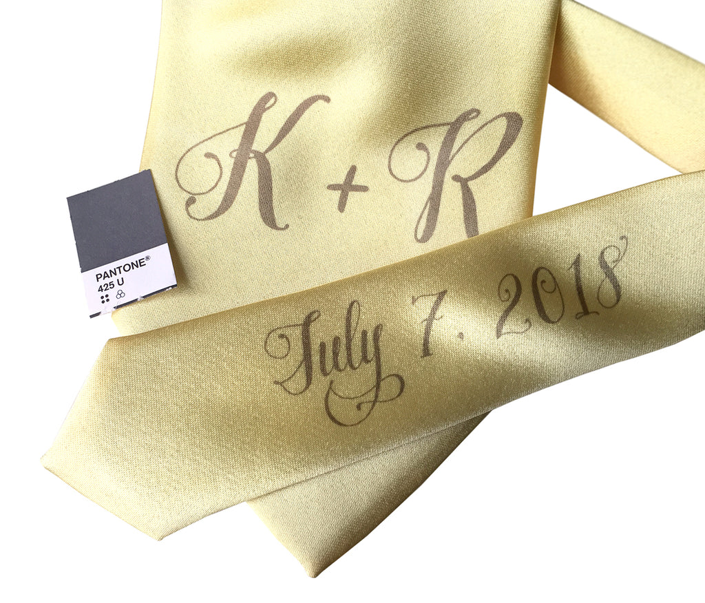 custom sublimated initial monogram wedding necktie, light yellow and grey, Cyberoptix